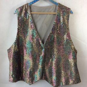 Jackets & Blazers - Handmade Gold Rainbow Sparkly Lined Vest XL Unisex